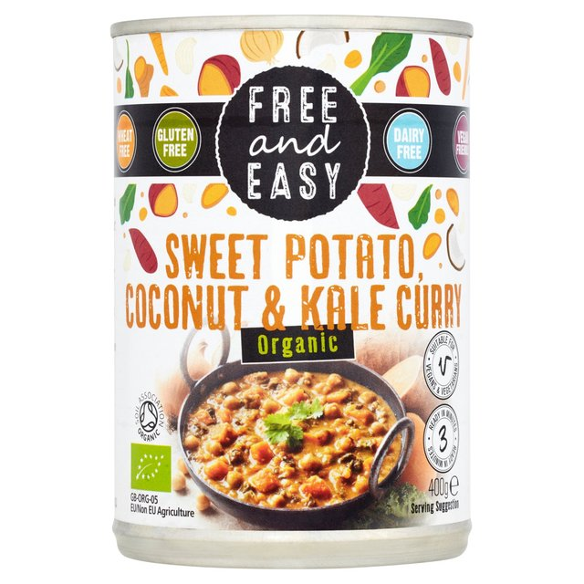 Free & Easy Organic Sweet Potato, Kale & Coconut Curry