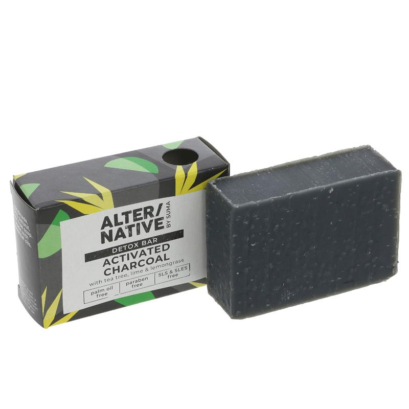 Alter/native By Suma Detox Bar Activated Charcoal Soap with Tea Tree, Lime and Lemongrass