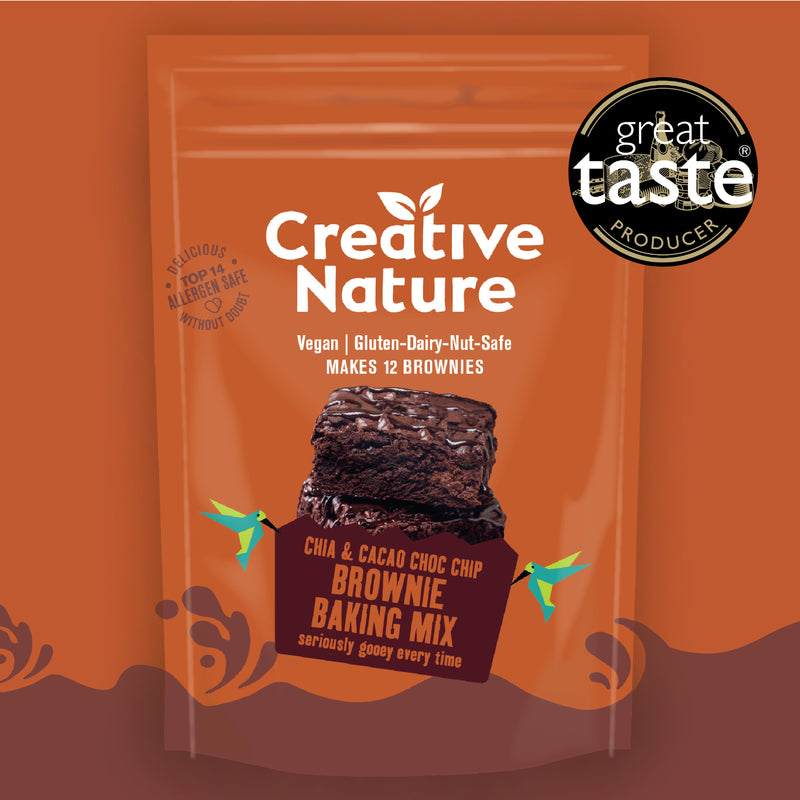 Creative Nature Chia & Cacao Choc Chip Brownie Mix 400g Serves 20