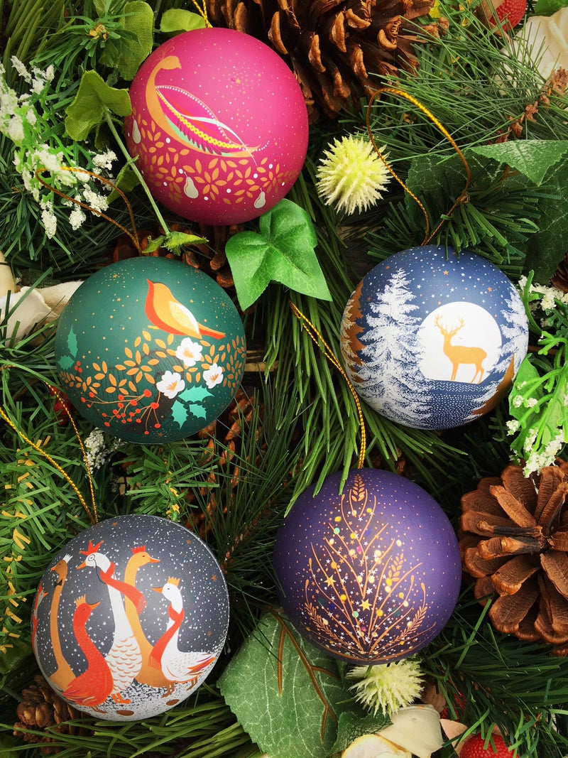 Vegan Store Luxury Sara Miller Tin Christmas Tree Baubles with Fondant Cremes