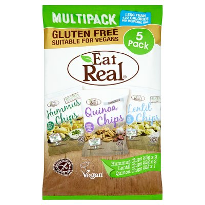 Eat Real Multipack Hummus, Quinoa & Lentil Chips x 5 BAGS