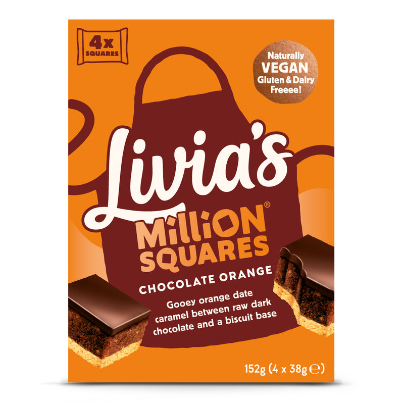 Livia's Chocolate Orange Million Squares 4 x 38g Multipack BEST BEFORE 05.03.2021