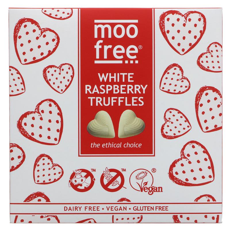 Moo Free White Chocolate & Raspberry Truffle Box