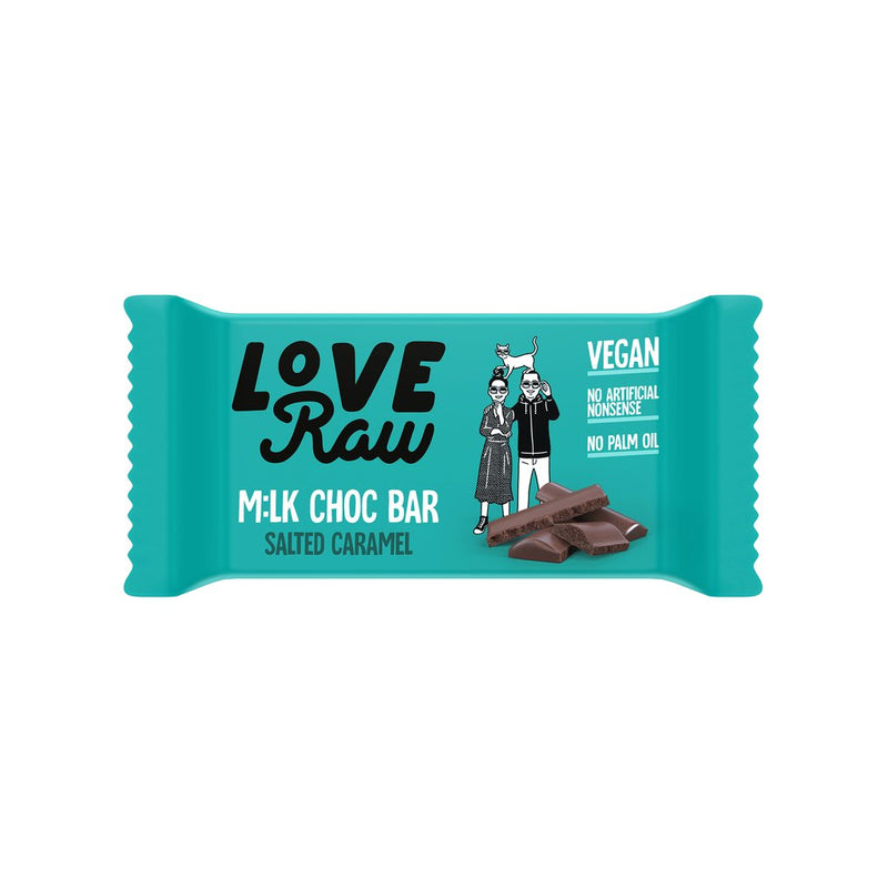 Love Raw Salted Caramel  M:lk Chocolate Bar BEST BEFORE 23.02.2021