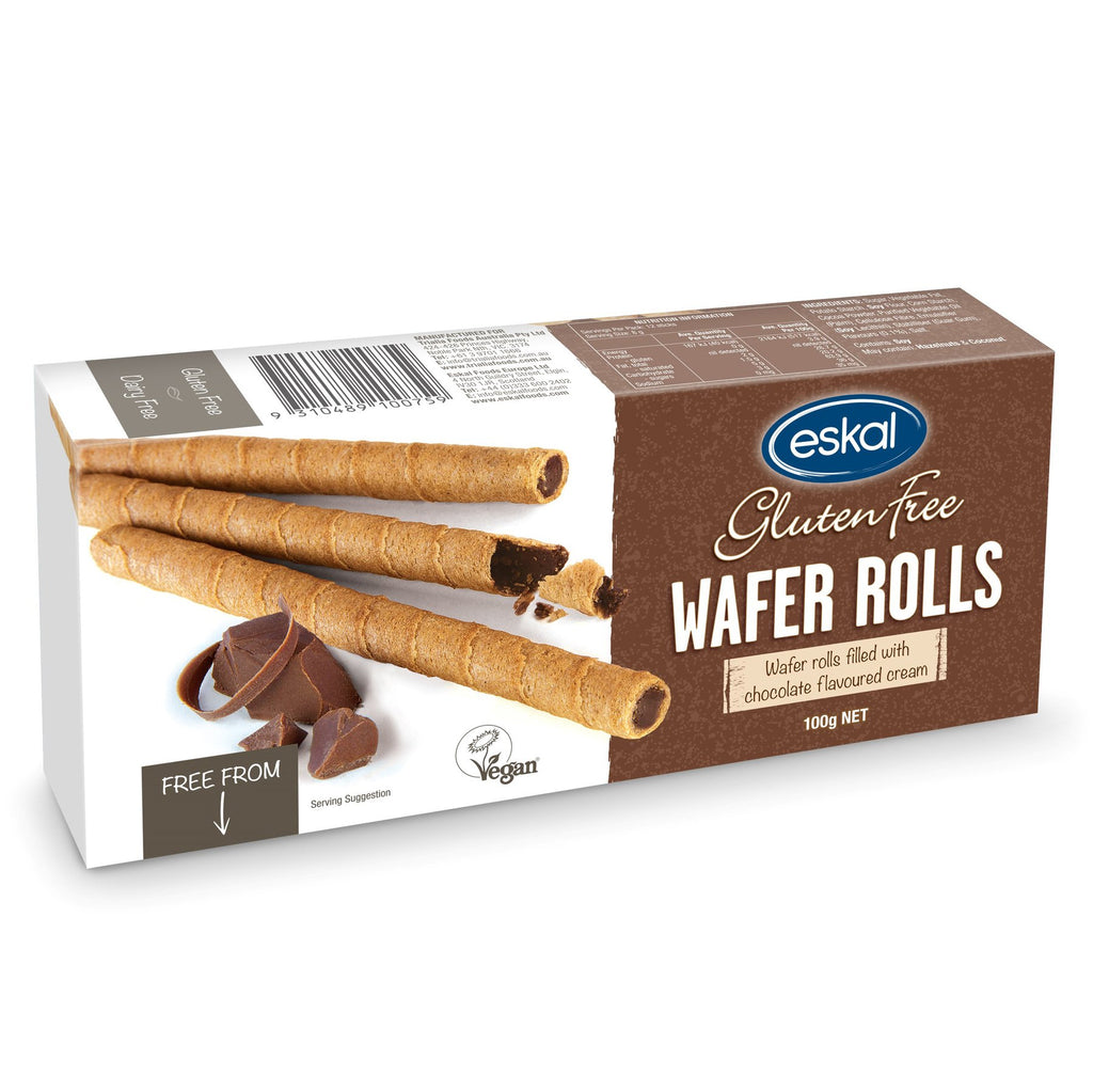 Eskal Gluten Free Chocolate Wafer Rolls