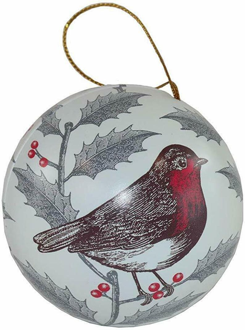 Vegan Store Luxury Thornbeck and Peel Robin Christmas Tree Baubles with Fondant Cremes