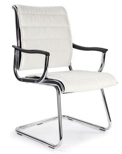 KNIGHTSBRIDGE-C Modern Leather Effect Chrome Visitors Office Chair