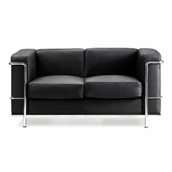 KENSINGTON Contemporary Cubed Leather Reception Two Seater Sofa