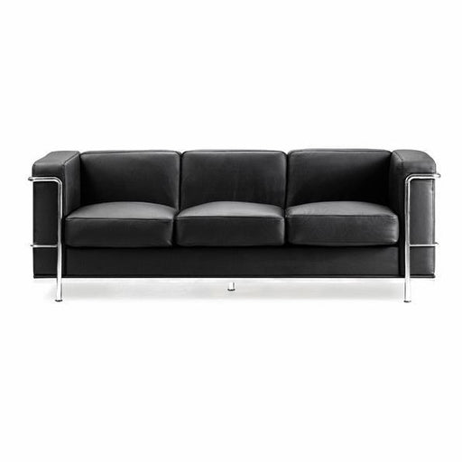KENSINGTON Contemporary Cubed Leather Reception Three Seating Sofa
