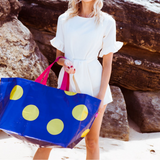 Large Tote - Navy & Gold Spot