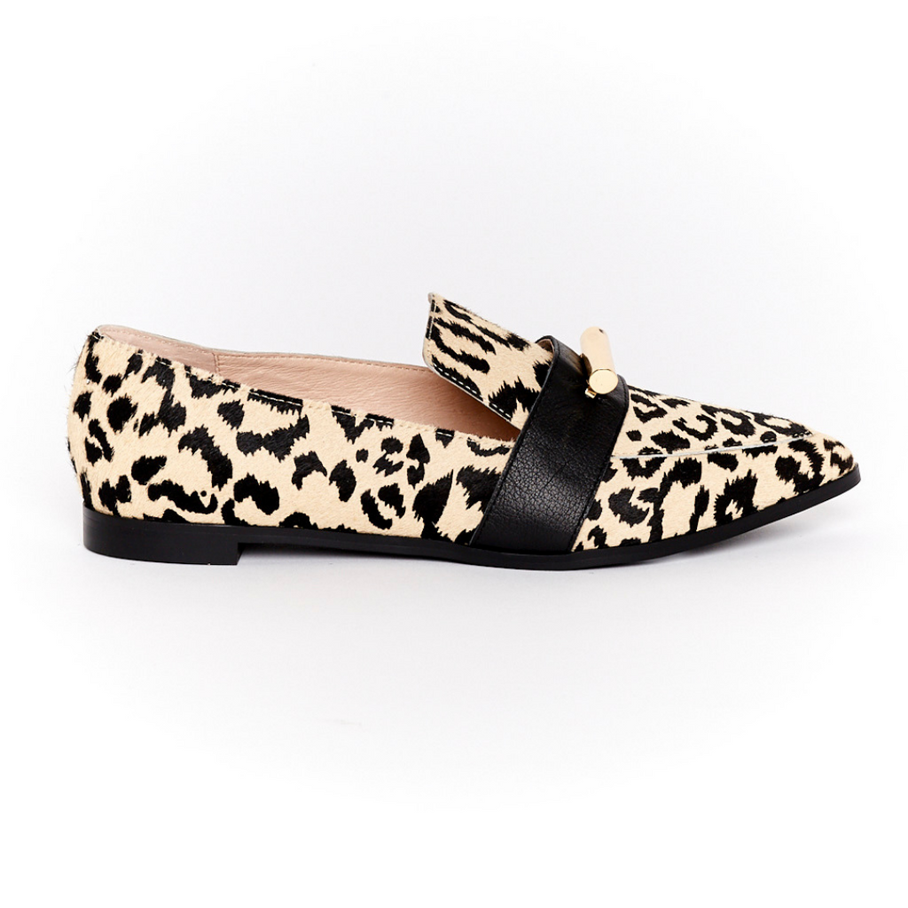 Monroe Pointed Loafer - Sand Leopard
