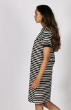 Sella Dress - Black & Cream Stripe