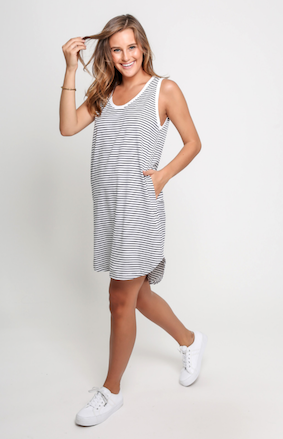 Tank Dress - White/Navy Stripe