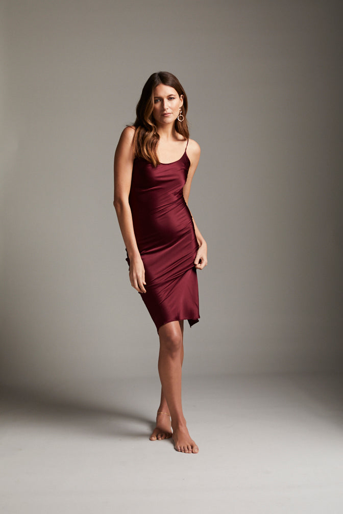 DAHLIA SILK SLIP DRESS - BORDEAUX