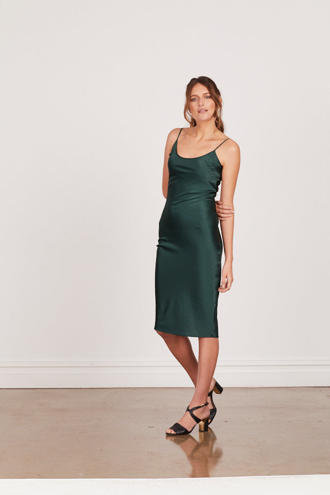 DAHLIA SILK SLIP DRESS - FOREST