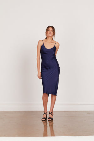 DAHLIA SILK SLIP DRESS - MIDNIGHT