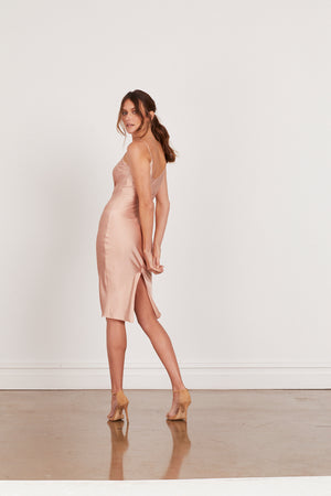 DAHLIA SILK SLIP DRESS - BLUSH