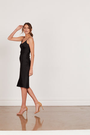 DAHLIA SILK SLIP DRESS - BLACK
