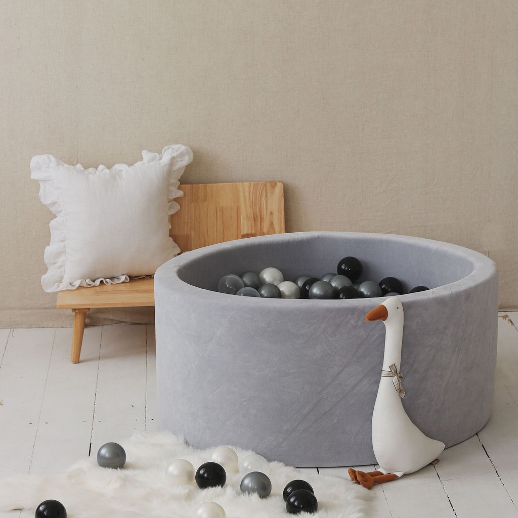 Soft Velvet ballenbad Light Grey Moje • Rond 40 x 90 cm