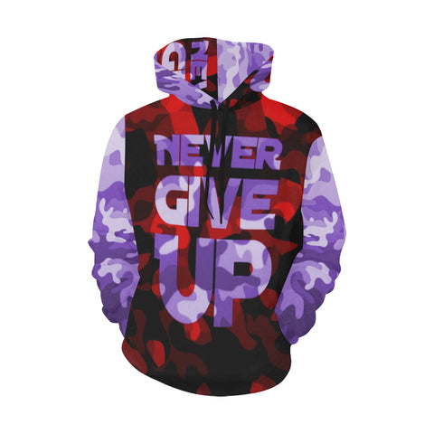 Never Give Up  Purple / Red Camo All Over Print Hoodie