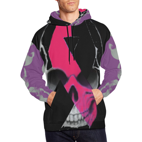 Breast Cancer Awareness Skull All Over Print Hoodie