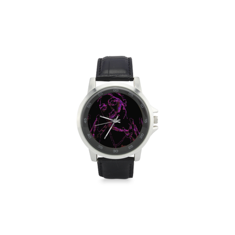 Graffiti 2 pac Unisex Stainless Steel Leather Strap Watch