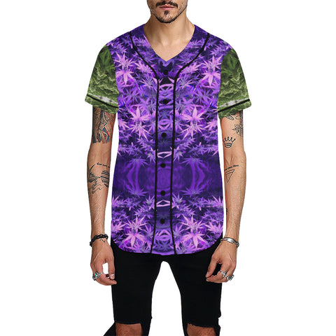 Green and Purple 420 All Over Print Baseball Jersey