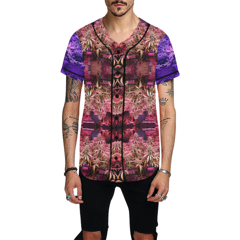 Purple and Red 420 All Over Print Baseball Jersey