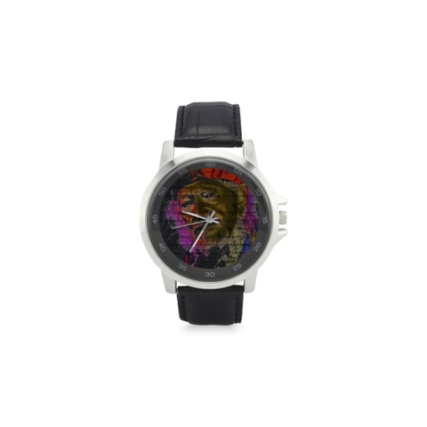 Graffiti The Last Outlaw Unisex Stainless Steel Leather Strap Watch