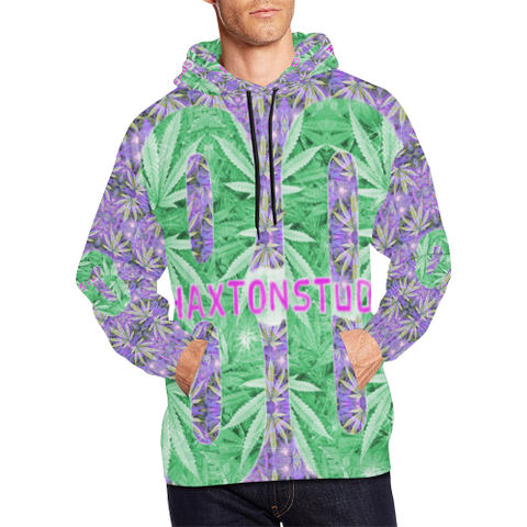Purple and green 420 rehaxtonstudios logo All Over Print Hoodie