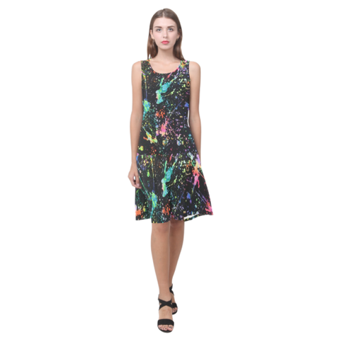 Paint Splatter Sleeveless Splicing Shift Dress
