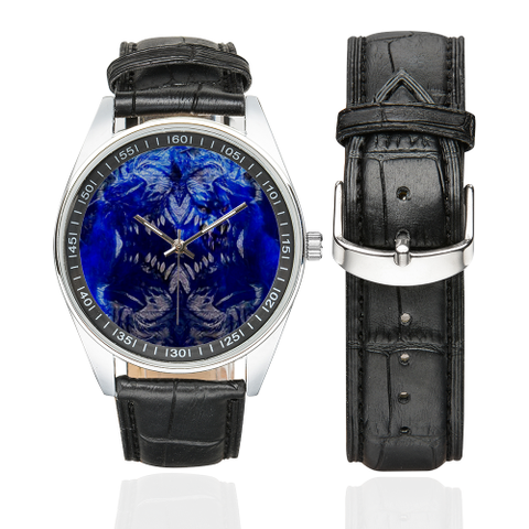 Beware of the Werewolf Men's Casual Leather Strap Watch