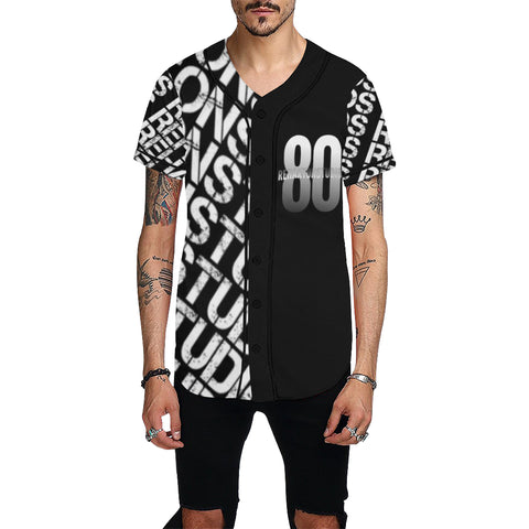 Silver and Black Logo All Over Print Baseball Jersey