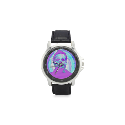 Michael Myers  Stainless Steel Leather Strap Watch