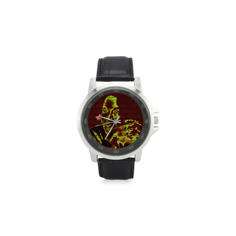 Graffiti Martin Luther King Jr Unisex Stainless Steel Leather Strap Watch