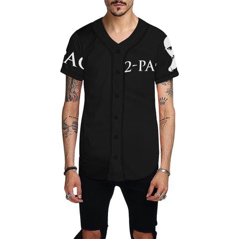 Black and White 2 pac All Over Print Baseball Jersey