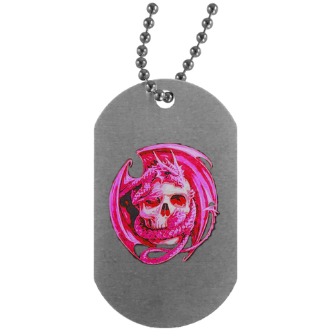 Pink Dragon Silver Dog Tag
