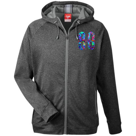 Blacklight logo Team 365 Men's Heathered Performance Hooded Jacket