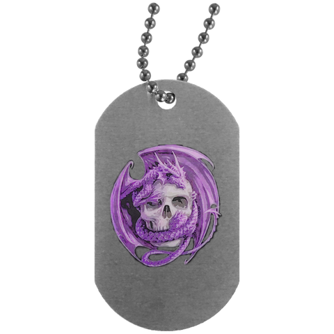 Dragon Purple Silver Dog Tag