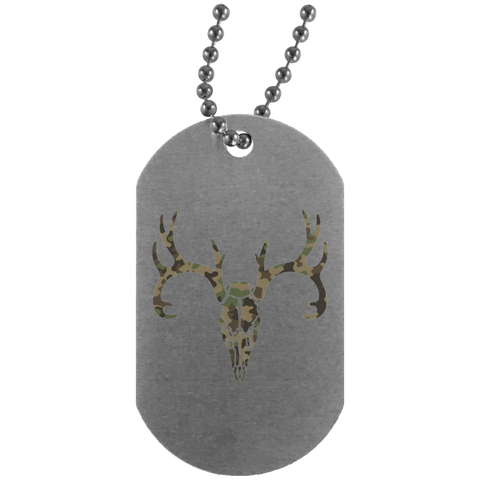 Camo Deer Head Silver Dog Tag