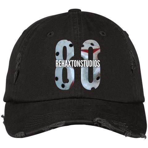 Rehaxtonstudios White Hockey Mask Logo District Distressed Dad Cap