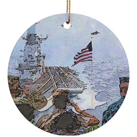 Salute To The Troops Christmas Ceramic Circle Ornament