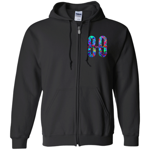 Blacklight Glow Logo Gildan Zip Up Hooded Sweatshirt