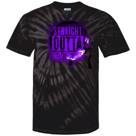 Straight Outta Rehaxtonstudios Blue 100% Cotton Tie Dye T-Shirt