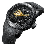 Top Brand Luxury Mechanical Watch Men Gold Full Black Watches Creative 3D Sculpture Dragon Cool Male Hand Wind Wristwatch reloj