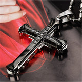 New Hot Sale Necklace for Men Jesus Crystal Cross Pendant Necklace Gold Silver color and Black Cross Necklace Fashion Jewelry