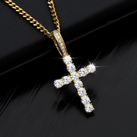 Ice Out Cross Pendant Necklaces For Men Women With Crystal Zircon Copper Gold Chain Bijoux Femme Hip Hop Steampunk Jewelry BFF
