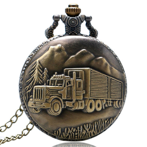 Truck Van Pattern Pocket Watch