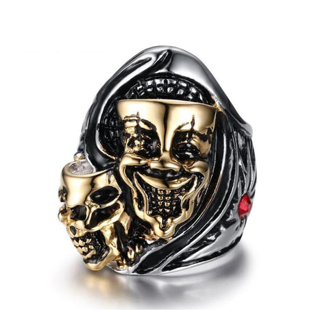 Unique Design Style Stainless Steel Crystal Ring Punk Design Skulls Rings for men