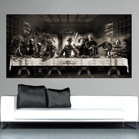 Horror Last Supper Freddie Alien Last Supper  Art Canvas Painting Poster Prints Home Wall Decor Painting
